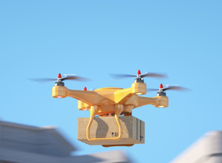 Drone delivering a package over a city